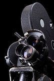 Stock Photo of an Old Movie Camera. Stock photo of an old 35 mm movie camera in black background Royalty Free Stock Images