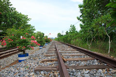 Stock Photo - Old railroad. Metal rails and wooden sleepers Royalty Free Stock Images