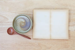 Stock Photo:Open Book blank on old wood background Royalty Free Stock Photo