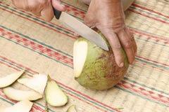 Stock Photo - Peeling coconut. Royalty Free Stock Image
