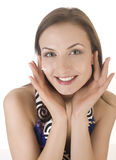 Stock photo portrait of beautiful young woman touching her face Royalty Free Stock Images