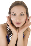 Stock photo portrait of beautiful young woman touching her face Stock Photo