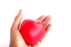 Stock Photo - Red heart in man hand Royalty Free Stock Images