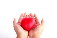 Stock Photo - Red heart in woman hand Royalty Free Stock Images