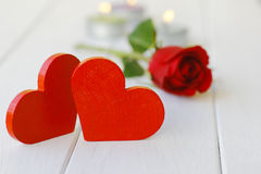 Stock Photo:Red wooden heart on white wooden boards, Stock Images