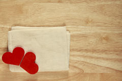 Stock Photo:Red wooden heart on a wooden background with boke b Stock Photography