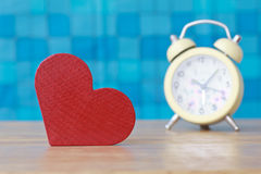 Stock Photo:Red wooden heart on a wooden background with boke b Royalty Free Stock Photography