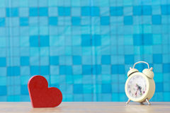 Stock Photo:Red wooden heart on a wooden background with boke b Royalty Free Stock Photos
