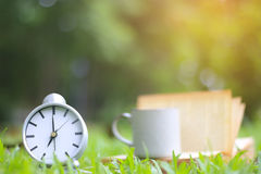 Stock Photo:Retro clock and book with cup of coffee on the gree Stock Image