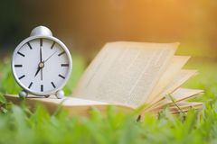 Stock Photo:Retro clock and book with cup of coffee on the gree Royalty Free Stock Photos
