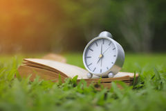Stock Photo:Retro clock and book with cup of coffee on the gree Royalty Free Stock Photo