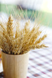 Stock Photo:Ripe wheat in a wooden vase soft focus Royalty Free Stock Photography