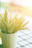 Stock Photo:Ripe wheat in a wooden vase soft focus Stock Photo