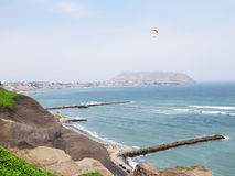 Stock Photo - Shot of the Green Coast beach in Lima-Peru Royalty Free Stock Photos