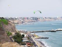 Stock Photo - Shot of the Green Coast beach in Lima-Peru Royalty Free Stock Photos