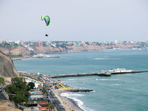 Stock Photo - Shot of the Green Coast beach in Lima-Peru Royalty Free Stock Photo
