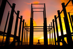 Stock Photo - silhouette of construction site Royalty Free Stock Photos