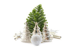 Stock Photo:Silver Christmas decoration elements Royalty Free Stock Photo