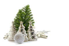 Stock Photo:Silver Christmas decoration elements Stock Photography