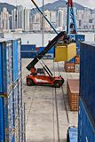 Container Handling, Hong Kong royalty free stock image