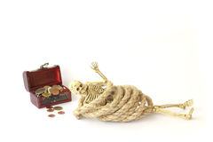 Stock Photo:Still life with Human skeleton with rope on white Royalty Free Stock Images