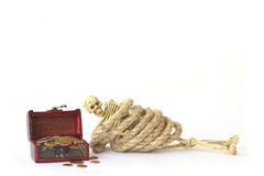 Stock Photo:Still life with Human skeleton with rope on white Stock Images