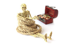 Stock Photo:Still life with Human skeleton with rope on white Stock Photography