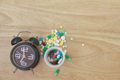 Stock Photo:Variety of colorful pills arranged in white medicat Stock Photography