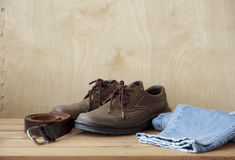 Stock Photo:Vintage,leather shoes on wood table Royalty Free Stock Images