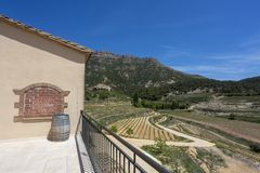 Barrel of wine on the background of the Valley of Vineyards and Mountains royalty free stock photography