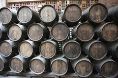 Old barrels for aging wine in the cellar stock image