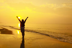 Stock Photo: woman open arms under the sunset at sea Royalty Free Stock Images