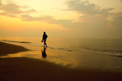 Stock Photo: Woman walking alone on the beach Royalty Free Stock Photography