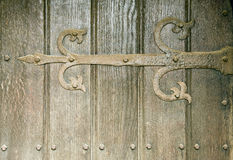Stock photo wooden door background with hinge Royalty Free Stock Image