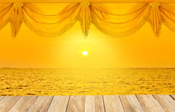 Stock Photo:Wooden platform beside tropical beach with Gold curt Stock Photo