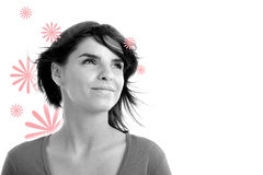 Stock photo of a young pretty woman. Monochrome stock illustration
