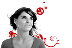 Stock photo of a young pretty woman. Smiling, monochrome vector illustration