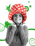 Stock photo of a young pretty woman. With funny hat royalty free illustration