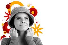 Stock photo of a young pretty woman. Monochrome on colorful background royalty free illustration