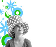 Stock photo of a young pretty woman. Monochrome on colorful background stock illustration