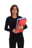 Stock photo of a young pretty woman. Holding red and blue binders Stock Photos