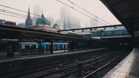 Stock Photography of Blue and White Train at Station Stock Images