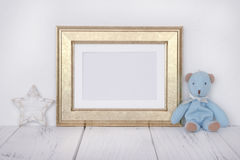 Stock photography golden picture frame cute blue bear star craft Stock Image