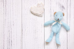 Stock photography retro white vintage painted wood floor background blue bear heart craft royalty free stock image