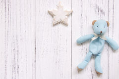 Stock photography retro white vintage painted wood floor background blue bear star craft royalty free stock photo