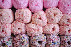 Stock of pink knitting wool Royalty Free Stock Photos