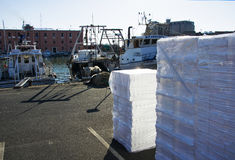 Stock of plastic boxes for fresh fish in a fishing harbor in South Italy.  royalty free stock photo