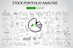 Stock Portfolio Analysis Concept with Doodle design style. Following trends, money management, investment diversification. Modern style illustration for web Stock Photography