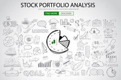 Stock Portfolio Analysis Concept with Doodle design style Stock Photography