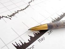 Stock price chart. Printout and a pen Stock Photos